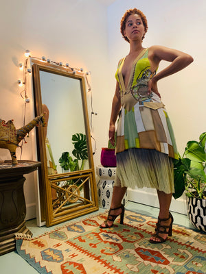 NEON GEOMETRIC SILK FLAPPER DRESS