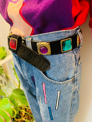 Vintage Velvet & Leather Gem Belt