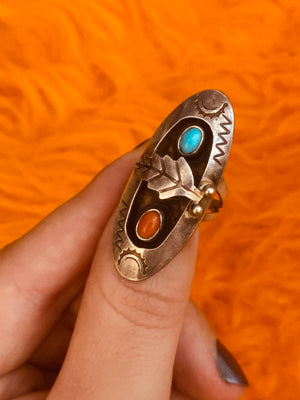 Sterling Silver Oval Ring with Engraved Designs and Small Jasper & Turquoise Stones ~ size 6.25