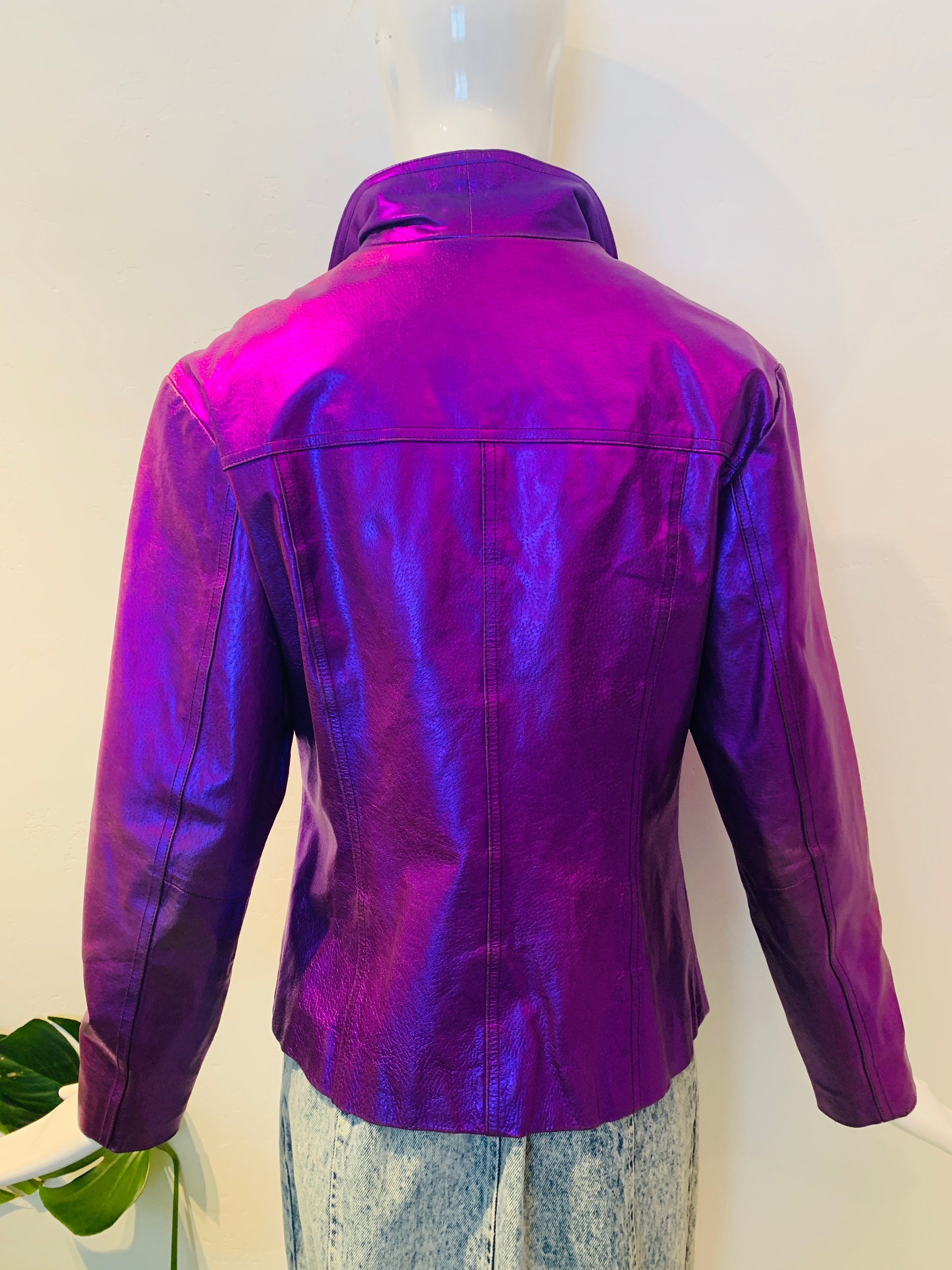 Metallic Purple Leather Jacket