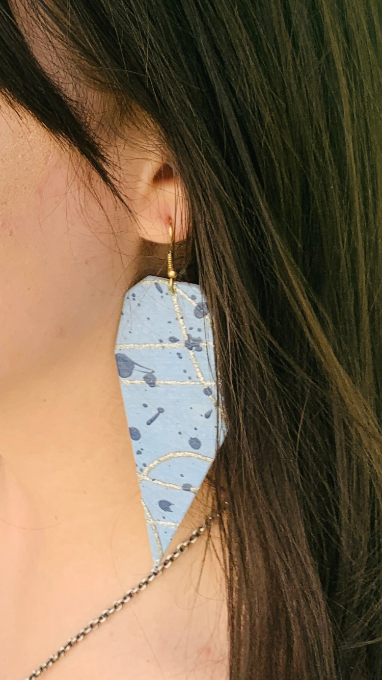 Geometric Handmade Painted Speckle Earrings