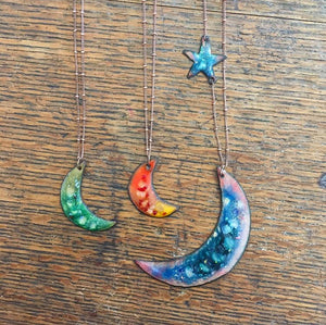 Handmade Enamel & Copper Crescent Moon Necklace