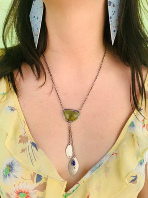 Sterling Silver Green Opal & Lapis Droplet Necklace