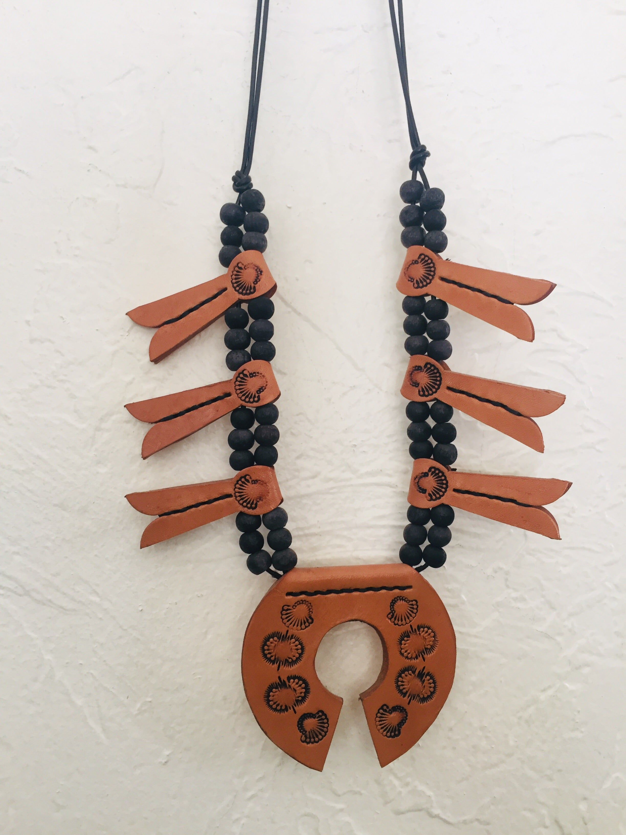 Leather Squash Blossom Necklace