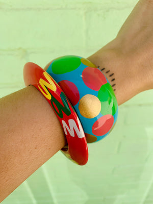 80s Hand Painted Wood Bangle