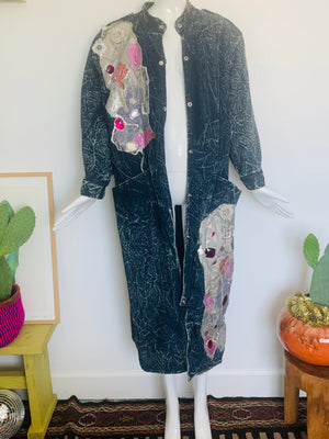 80s Acid Wash Art-To-Wear Trench