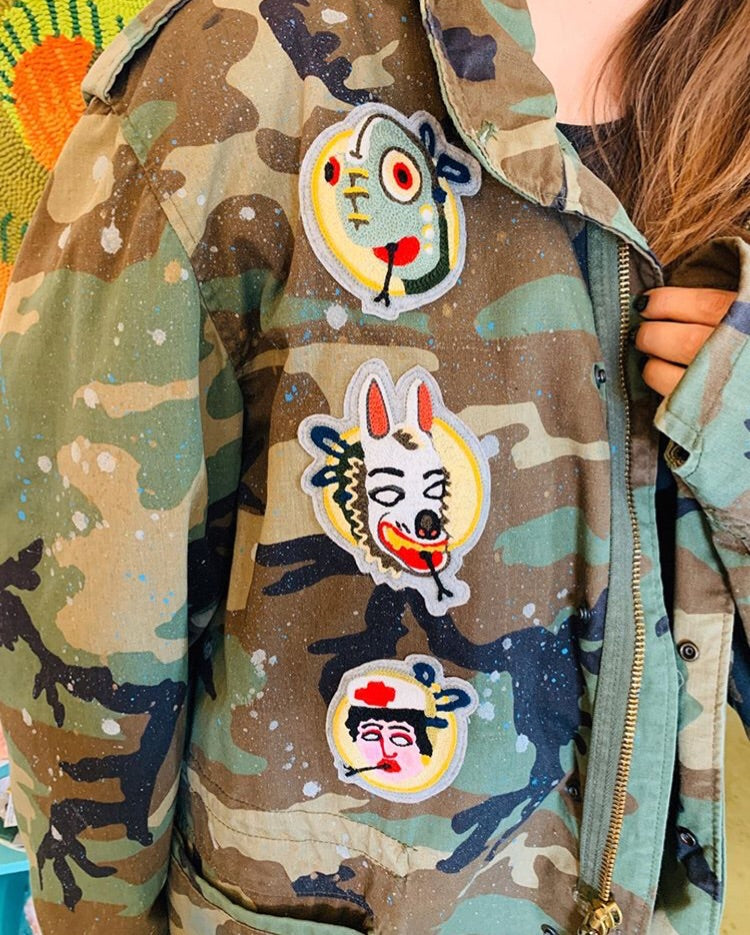 SENTINEL Chainstitch Patch Army Print Military Parka with Paint Splatter
