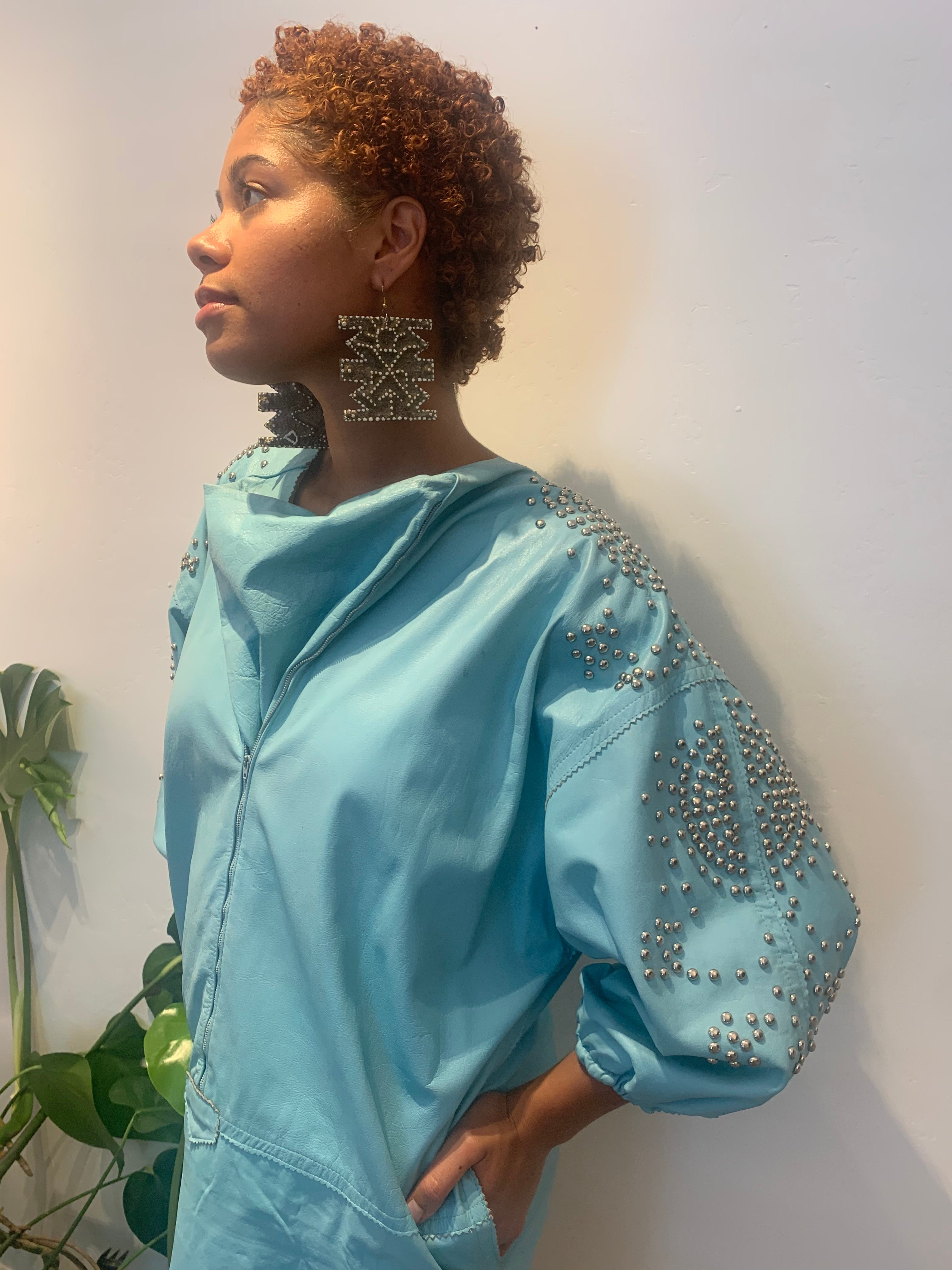 Turquoise Leather Studded Dress