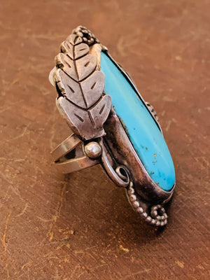 Vintage 1960's Beautiful Sterling Silver Ring with Rope & Leaf Detail and Blue Turquoise Stone ~ size 5.5