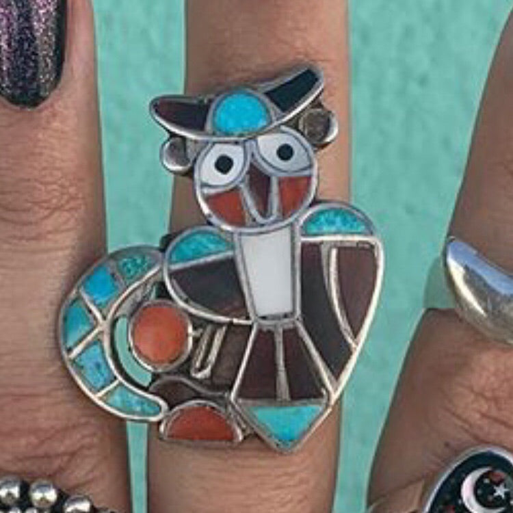 1960s Zuni Inlay Owl Ring ~ Size 7