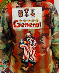 GENERAL CLOWN Vintage Patch Army Jacket with Spray Paint