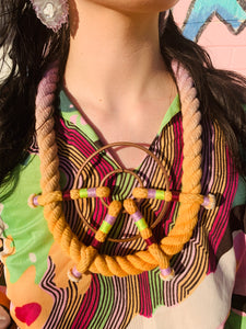 Ombré Dyed Cotton Rope Art to Wear Statement Necklace with Copper O-Rings