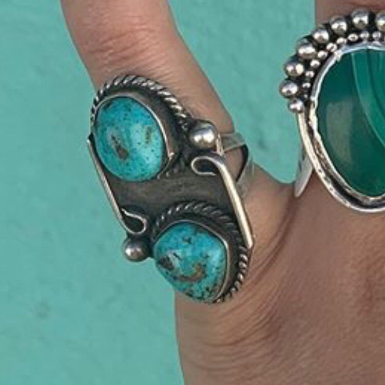 1940s Sterling Silver & Turquoise Ring ~ Size 3