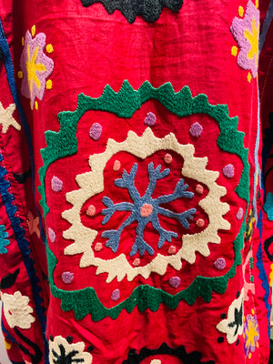 Deep Red Embroidered Suzani