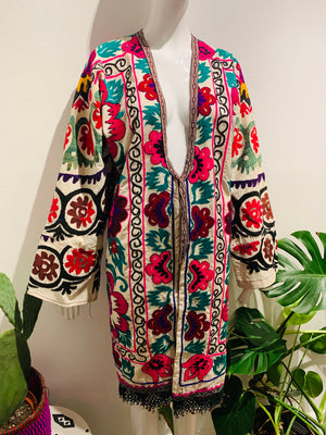 Psychedelic Embroidered Suzani With Metal Fringe