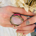 Handmade Rose Quartz Chunky Ring ~ Size 8