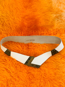White Leather Belt with Brass Clasp
