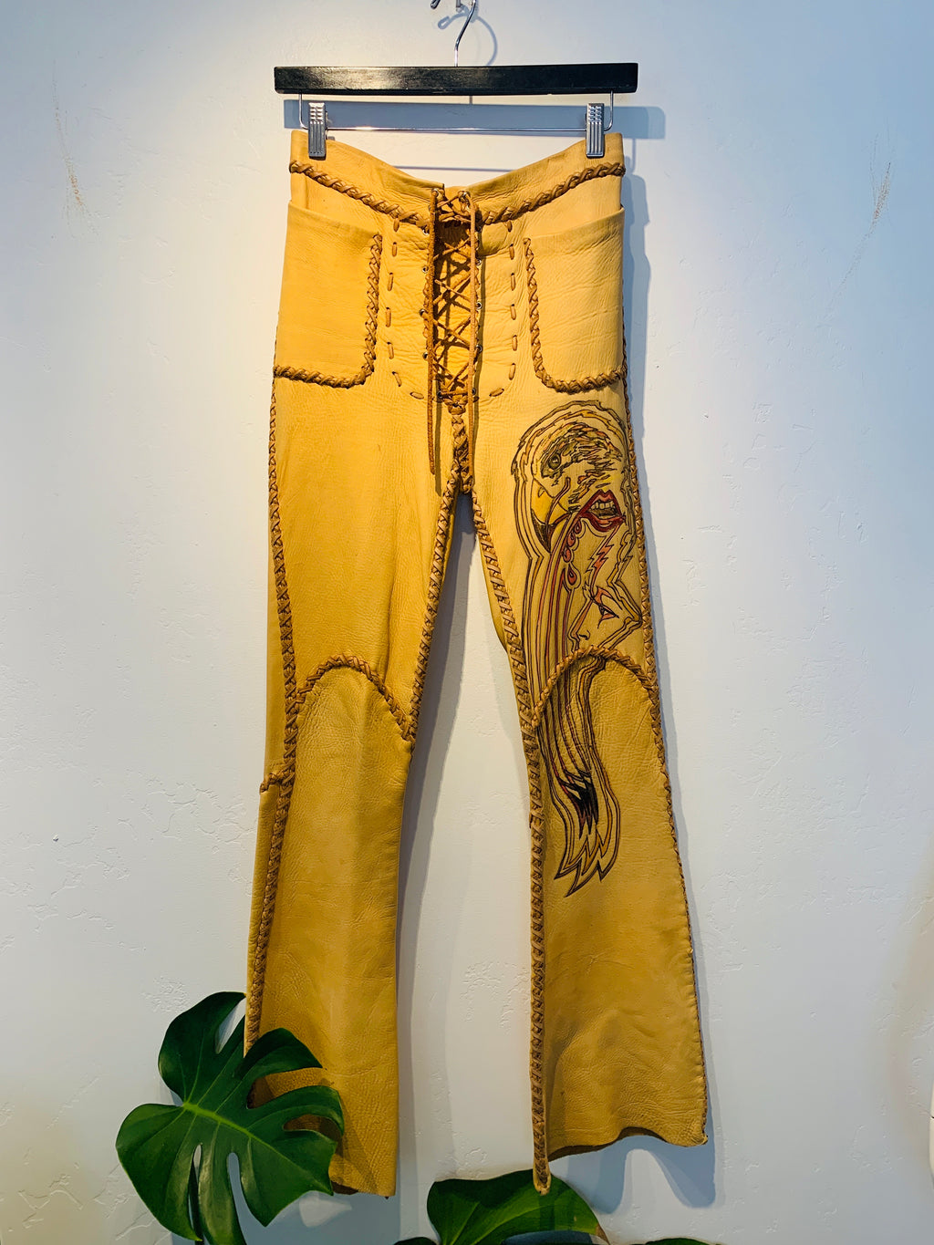 VINTAGE LEATHER PAINTED PANTS