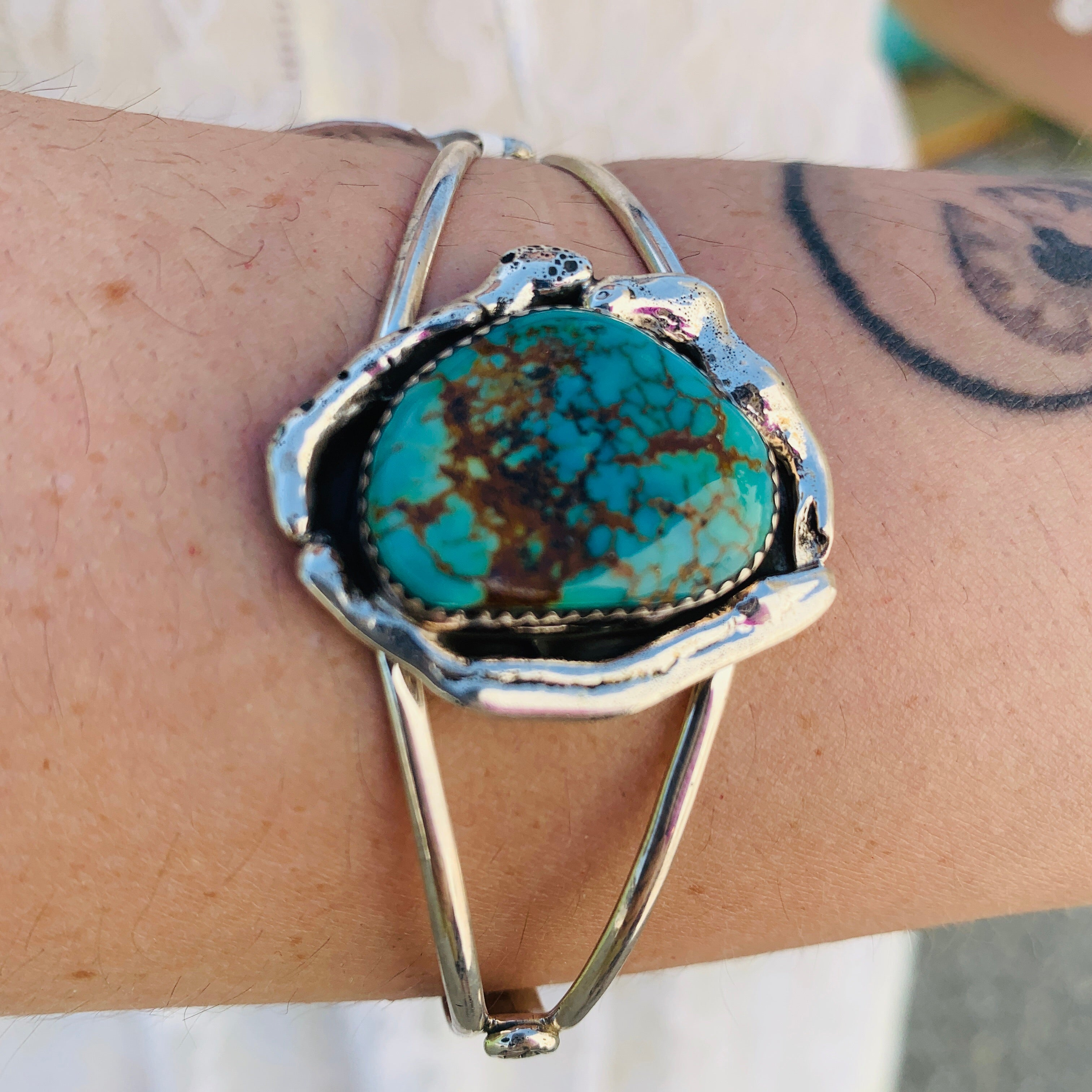 Dainty Sterling Silver & Turquoise Cuff