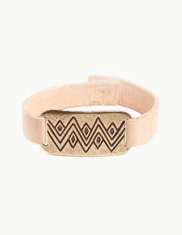 Diamond Mountain ID Brass & Leather Bracelet