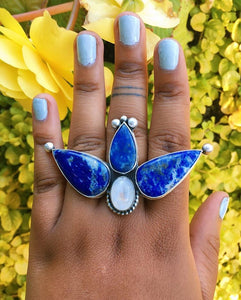 Large Lapis & Moonstone Sterling Silver Ring ~ Size 7
