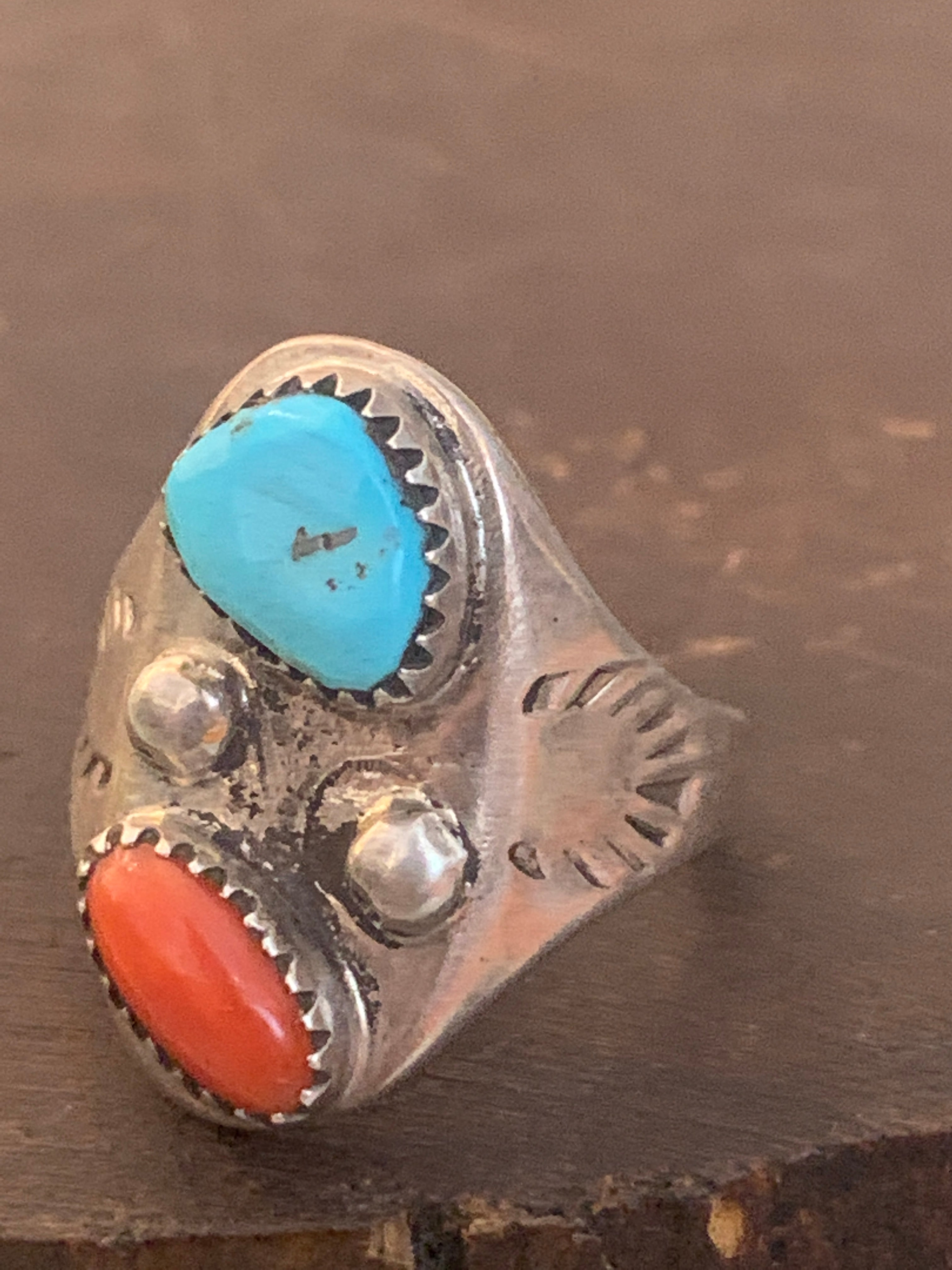 Jasper and Turquoise Stone Sterling Silver Abstract Ring ~ size 9
