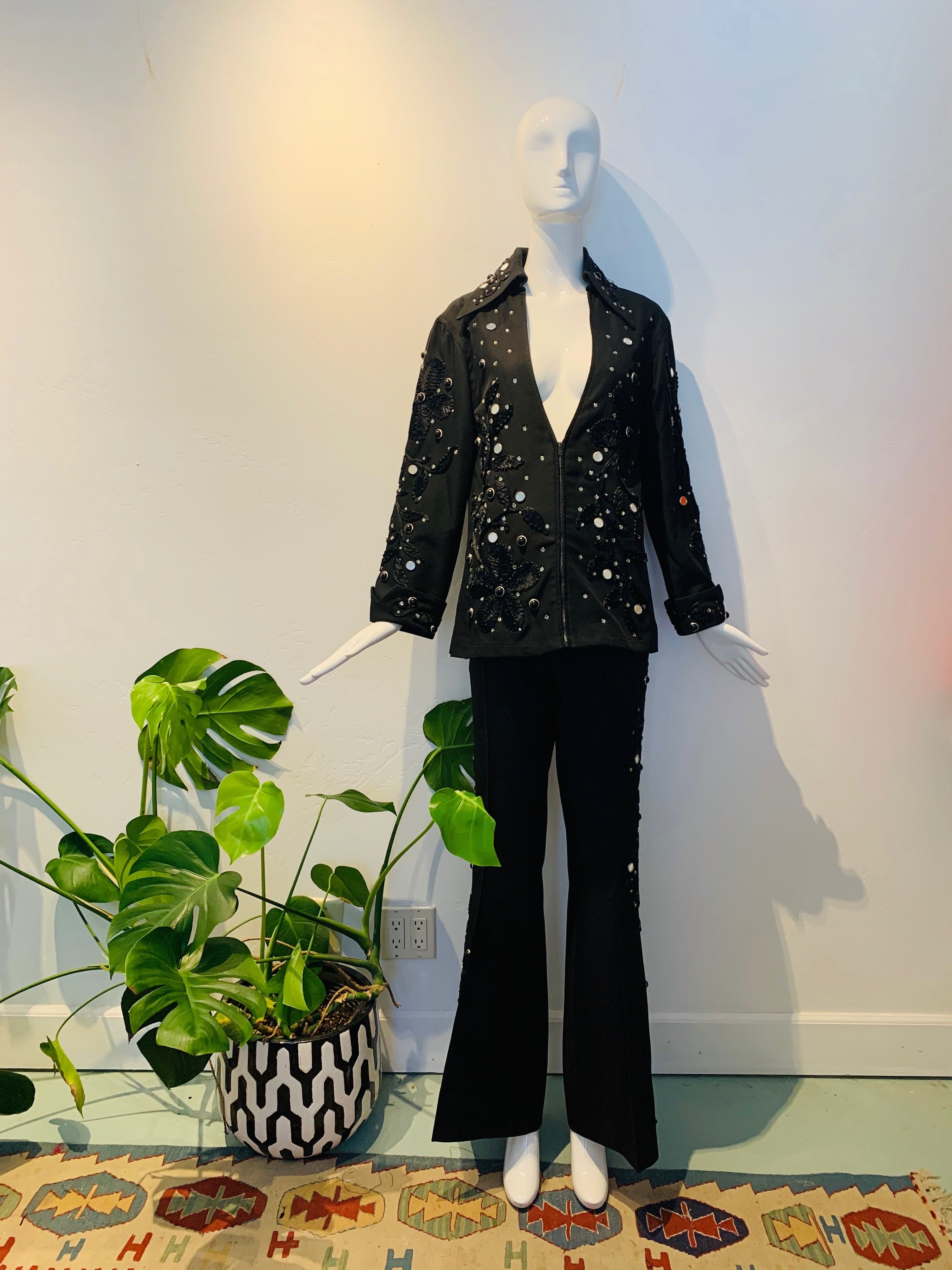 Black EMBELLISHED TWO PIECE SUIT