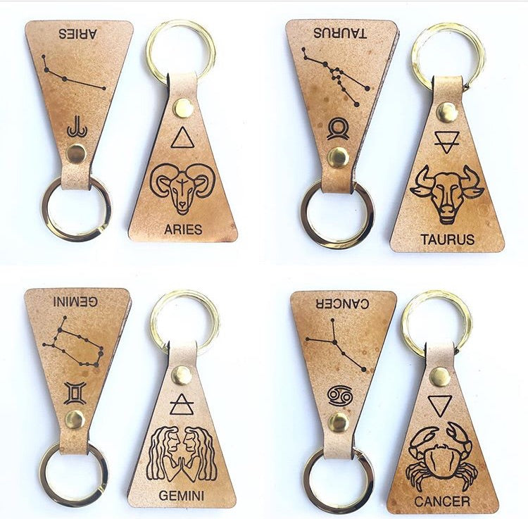 Zodiac Leather Keychain