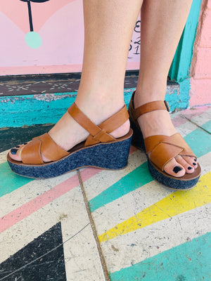 Strappy Leather Wedge Sandals ~ Size 10