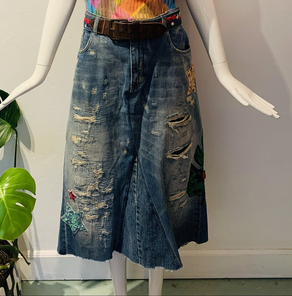 Embroidered Denim Maxi Skirt