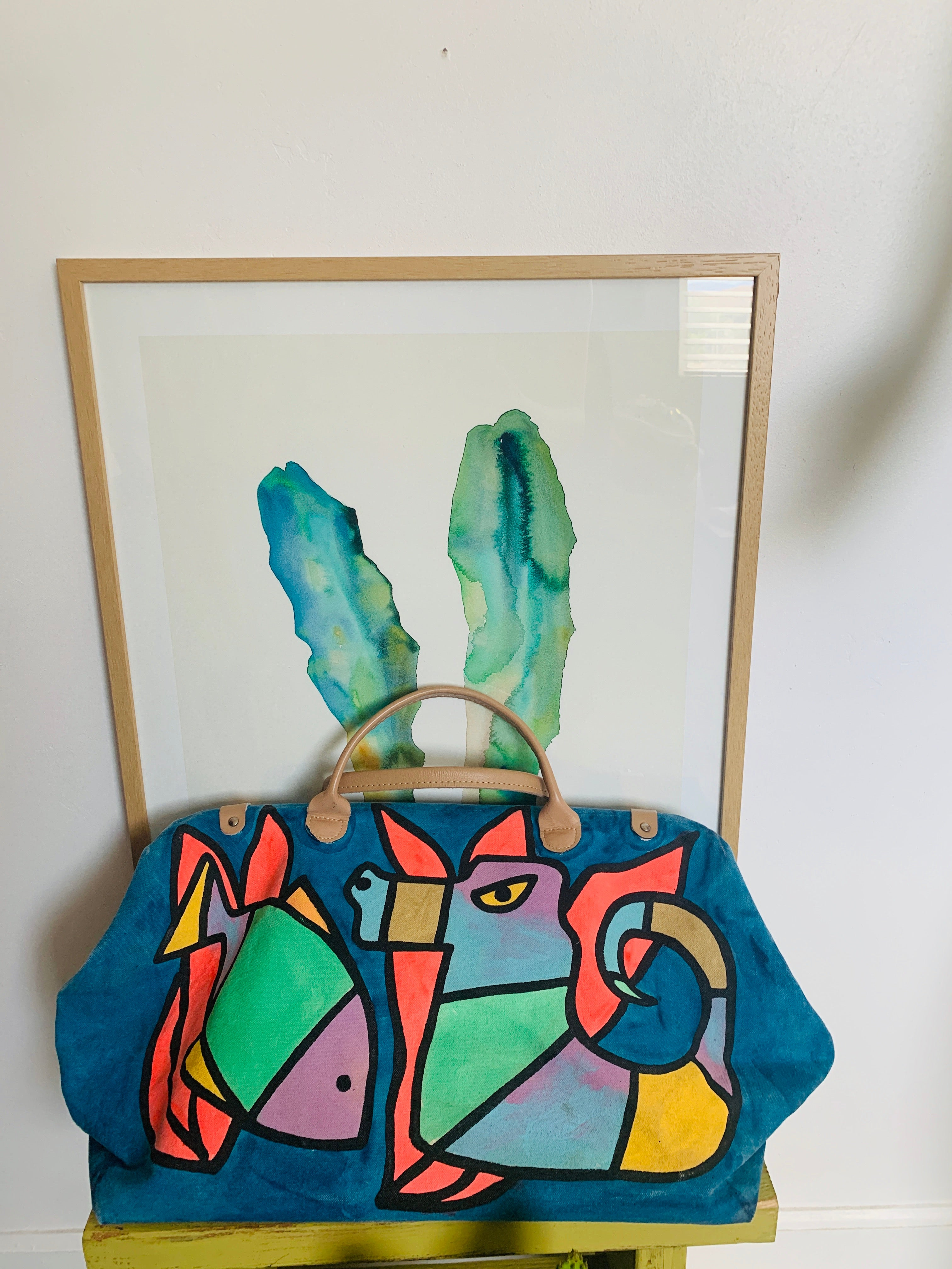 80s Hand Painted Duffle Bag
