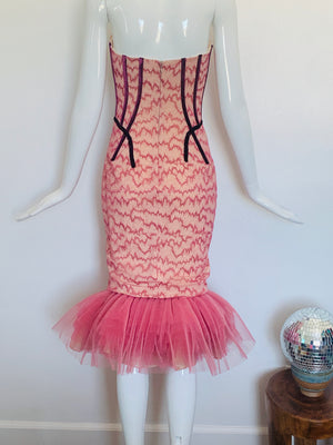 Funky Strapless Mini Mermaid Dress