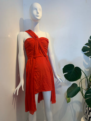Pleated Red Silk Cocktail Dress