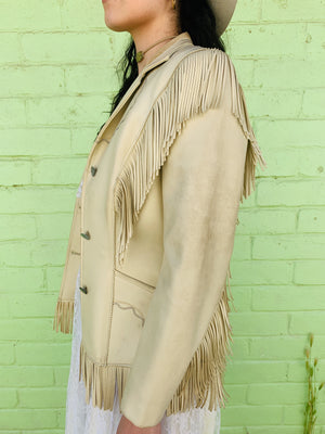 60s 70s Bone White Fringe Leather Jacket