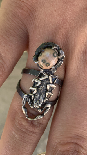 Life-Cast Sterling Silver Scorpion Ring with Ocean Jasper ~ Size 7.5
