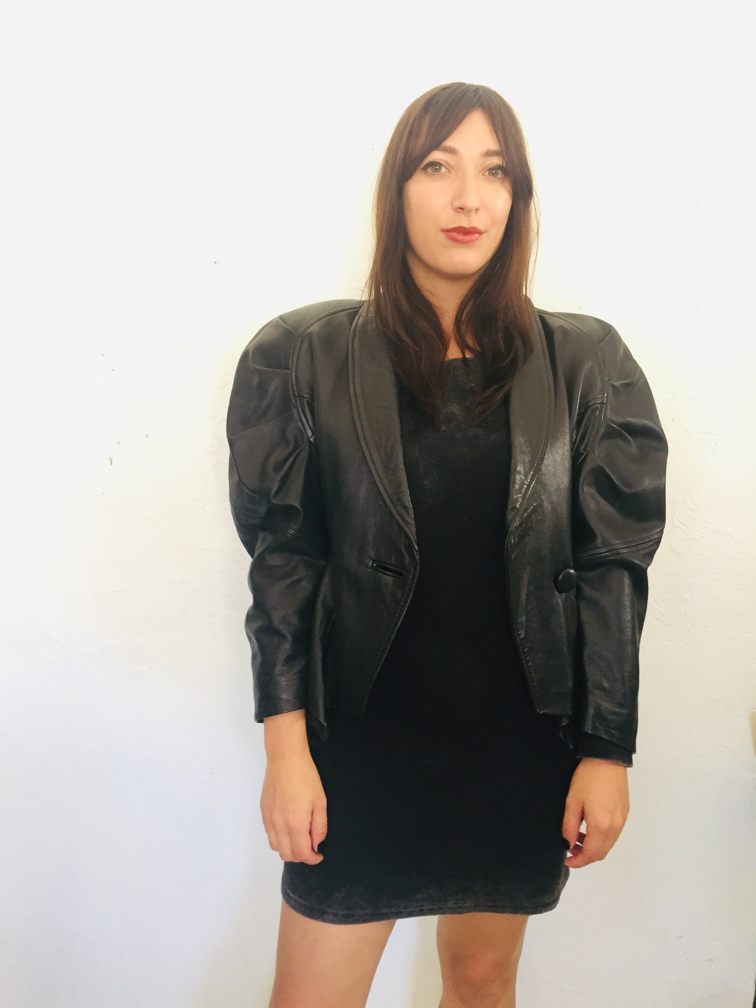 Avant Garde 80s Black Leather Power Shoulder Jacket