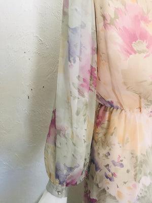 Late 1970s Dreamy Sheer Floral Dress