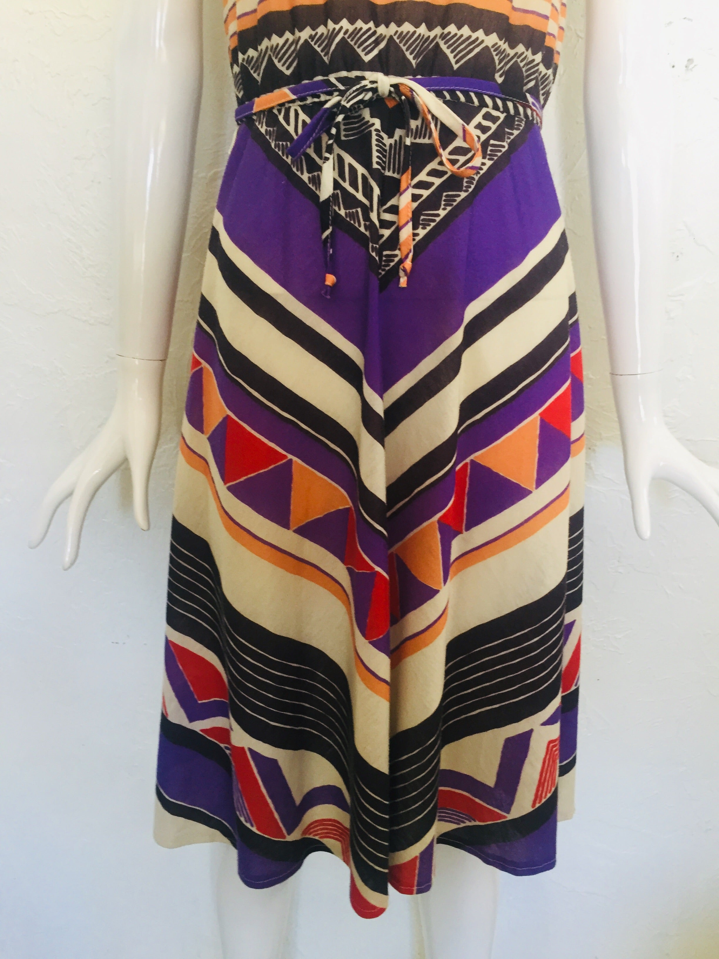 Vintage Chevron Print 80s Dress