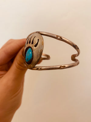 Sterling Silver & Turquoise Bear Paw Cuff