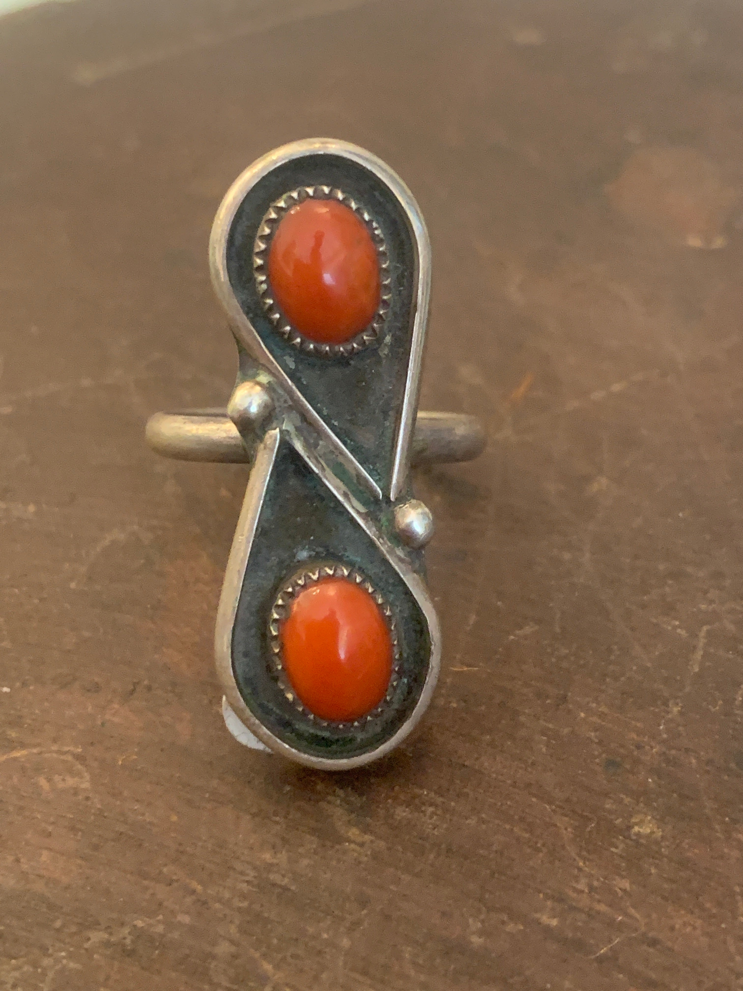 Double Jasper Sterling Silver Ring ~ size 6.75
