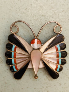 Vintage Zuni Inlaid Sterling Silver Pin