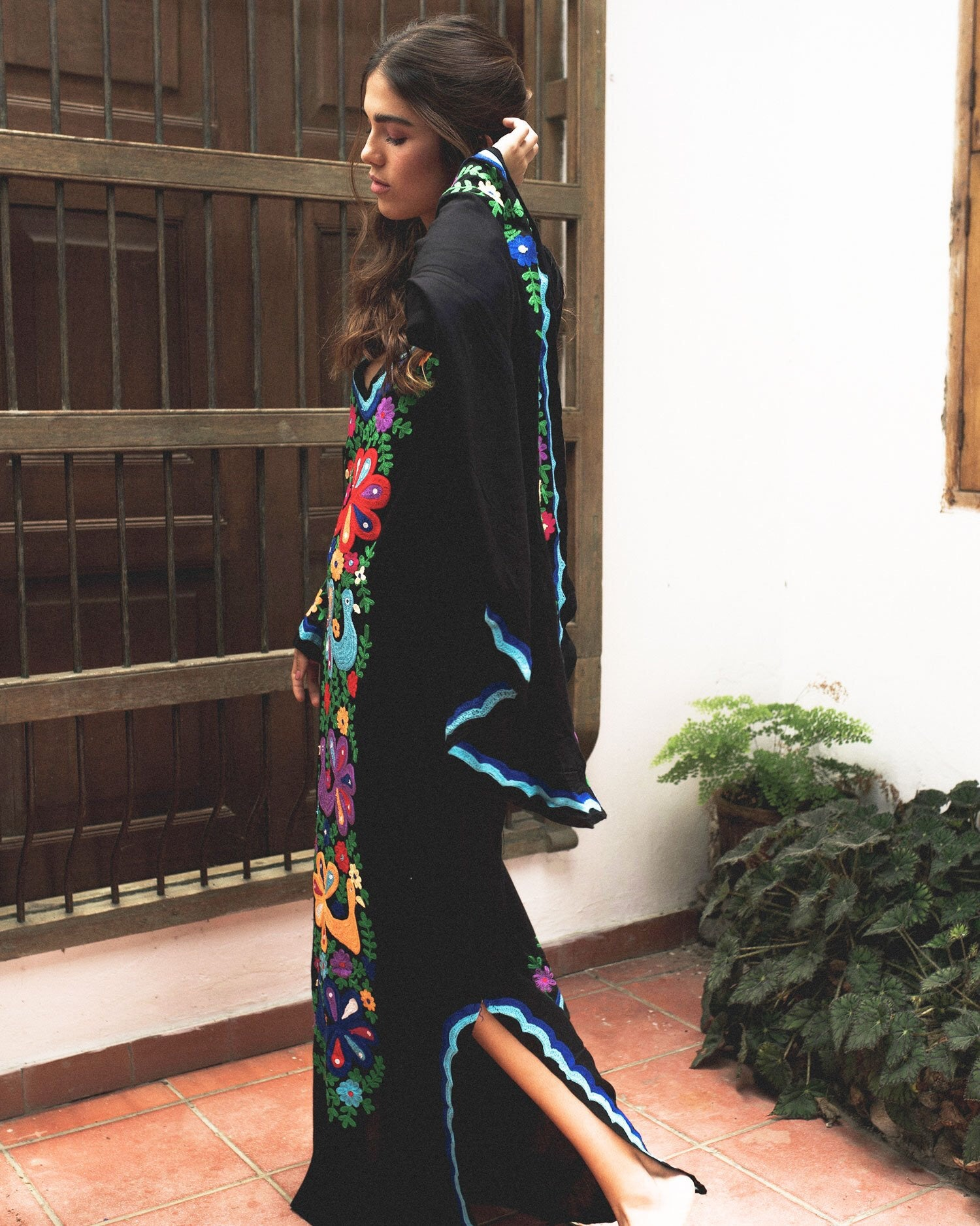 Chainstitch Woodstock Caftan ~ Black & Blue