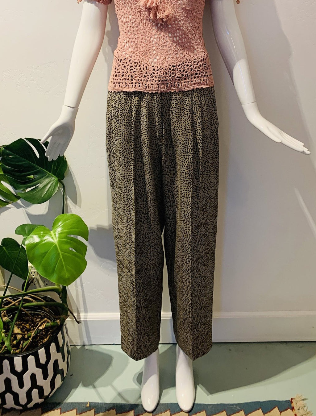 Vintage Pebble Print Silk Trousers
