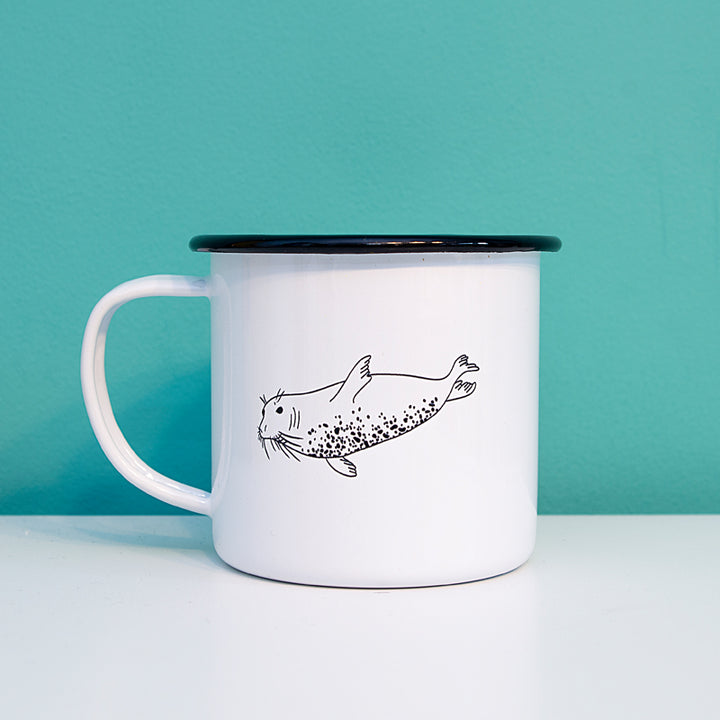 Swimming Seal Enamel Mug