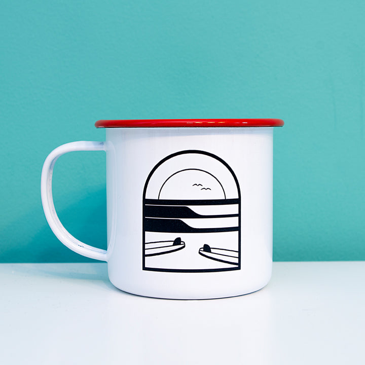 Sunset Surf Enamel Mug