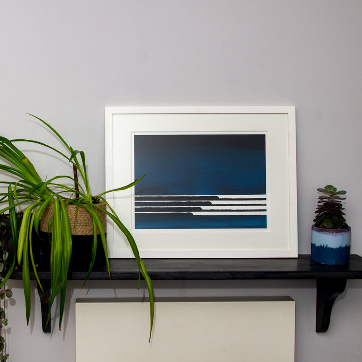 Framed Midnight Waves Art Print (Click & Collect)