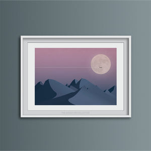 Night Flight Over Mountains Art Print
