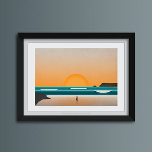 Polzeath at Sunset Art Print