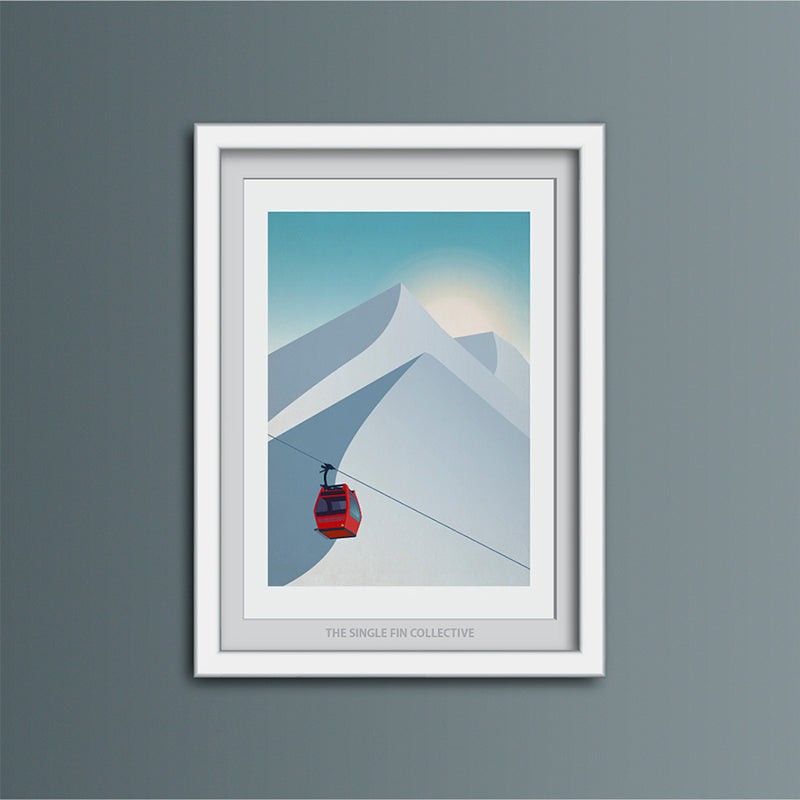 Ski Lift in Red Art Print