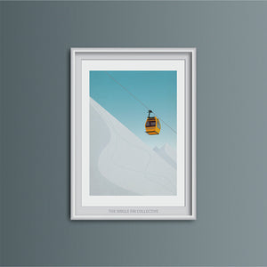 Ski Lift in Yellow Art Print